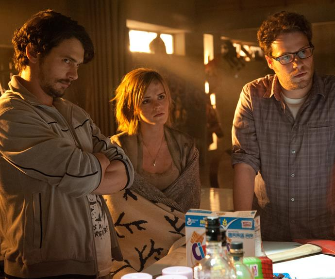 Emma and James along with Seth Rogen in the 2013 comedy, *This is the End*.