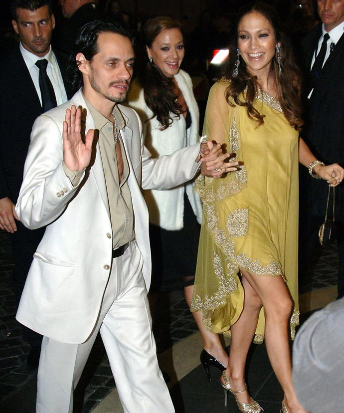 Leah Remini with Jennifer Lopez and Marc Anthony at Tom and Katie's 2006 wedding in Rome.
