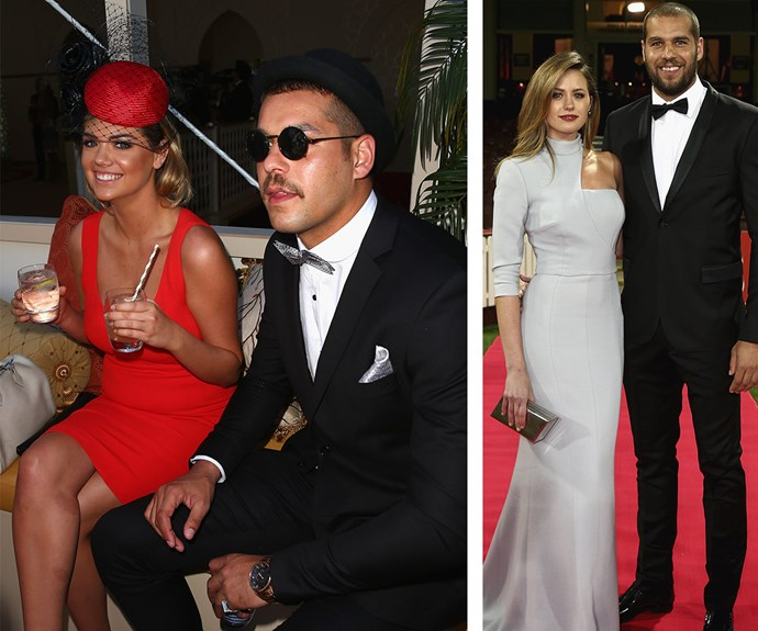 """At 2014's Melbourne Cup, onlookers swore that sparks were flying between American model Kate Upton and AFL star Lance """"Buddy"""" Franklin, who is a taken man thanks to his romance with now-wife Jesinta Franklin (R)."""