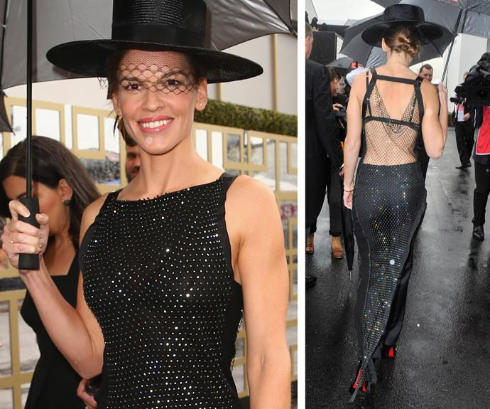 The *Derby Day's* guest of honour was Hollywood actress Hilary Swank who sparkled in a glittering black and backless gown.