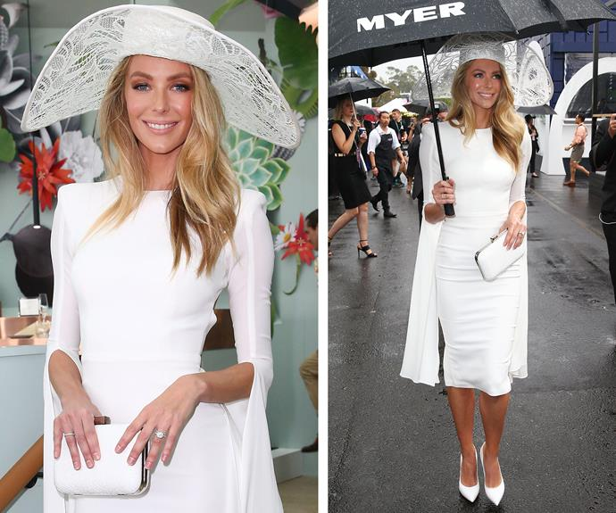 You can't always rely on the horse but you can certainly predict that Jennifer Hawkins will be delivering some fabulous fashion… even if it is raining! The stunning star led the glamour at Derby Day on Saturday.