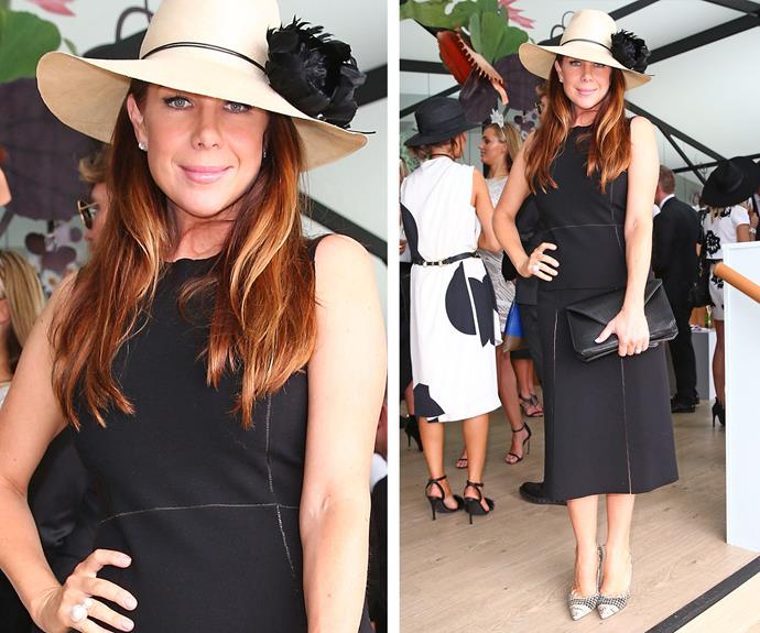 Sheer elegance: Kate Ritchie brings a royal garden party inspired hat to her classic black dress.