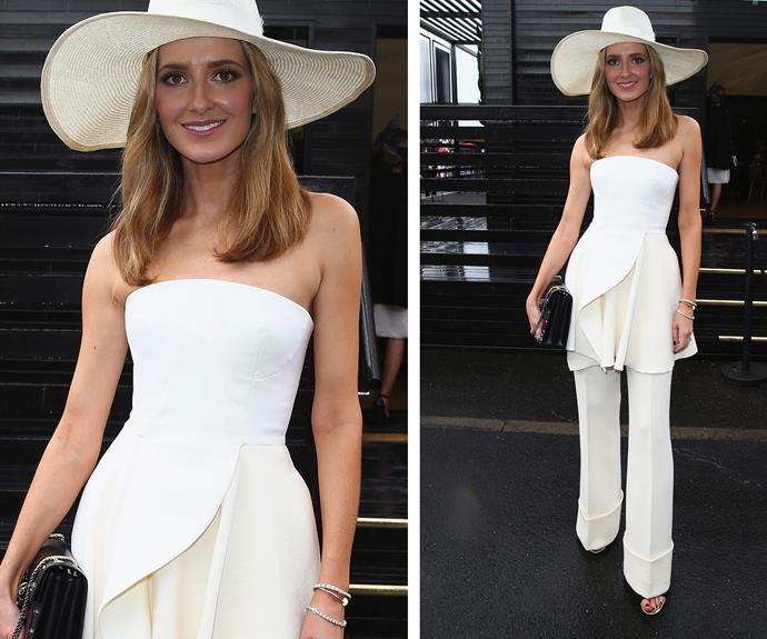 Race-day royalty: Kate Waterhouse is on to a winner with her cream jumpsuit.