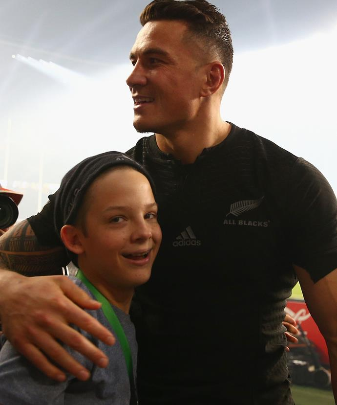 Sonny Bill was the first to pick up Charlie when he was crash-tackled by a security guard for invading the pitch.