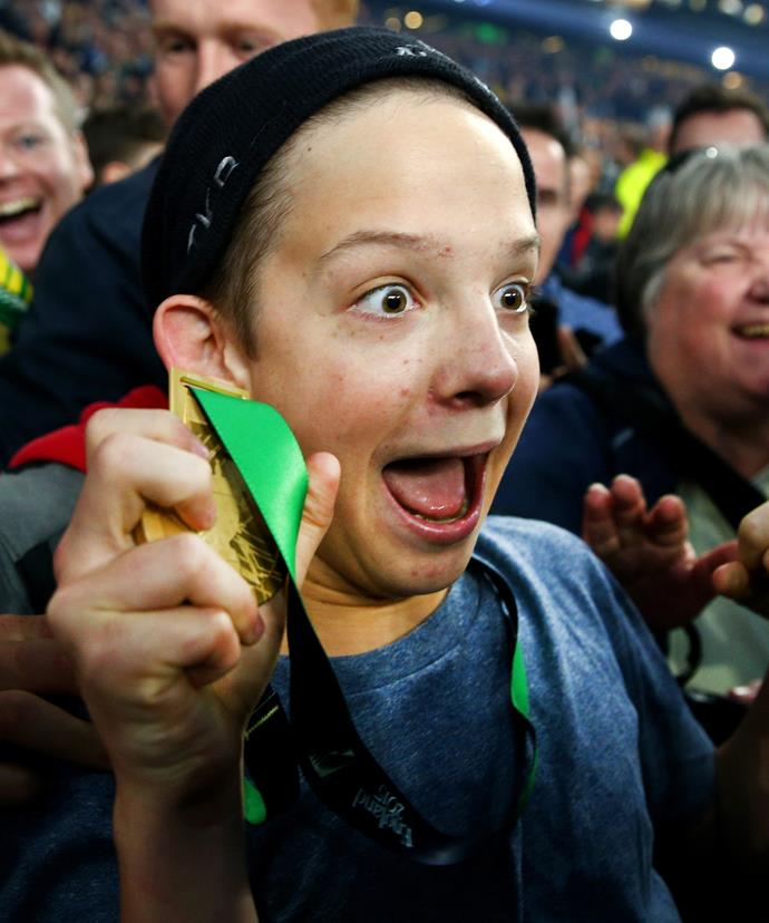 The moment Charlie realised he got to keep the medal.
