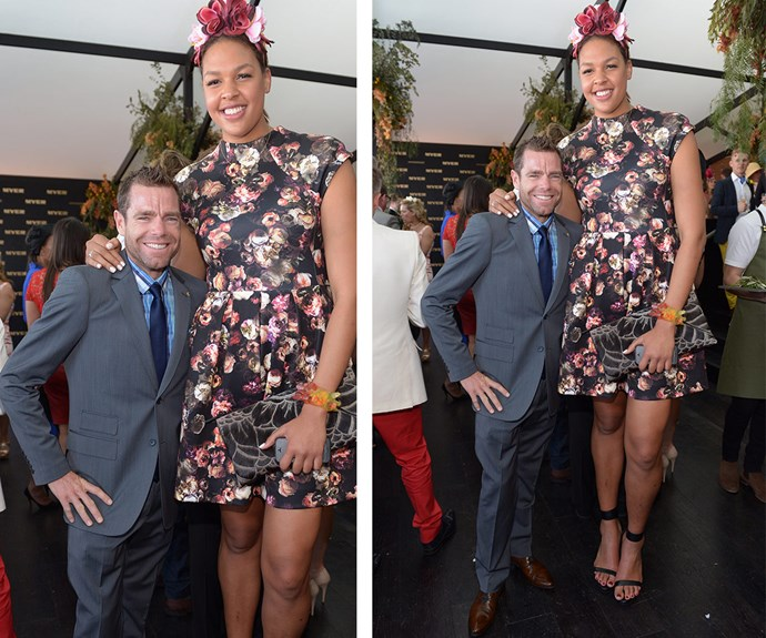 When sporting worlds collide: In 2013 pro cyclist Cadel Evans rubbed shoulders with basketball star Liz Cambage and their noticeable height difference made for quite a great shot!