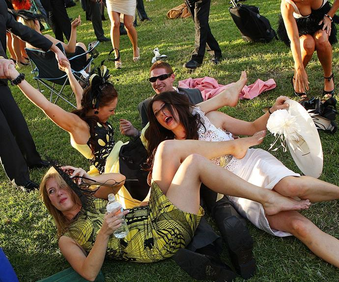And finally, no Melbourne Cup would be complete without some rambunctious behaviour from the punters.