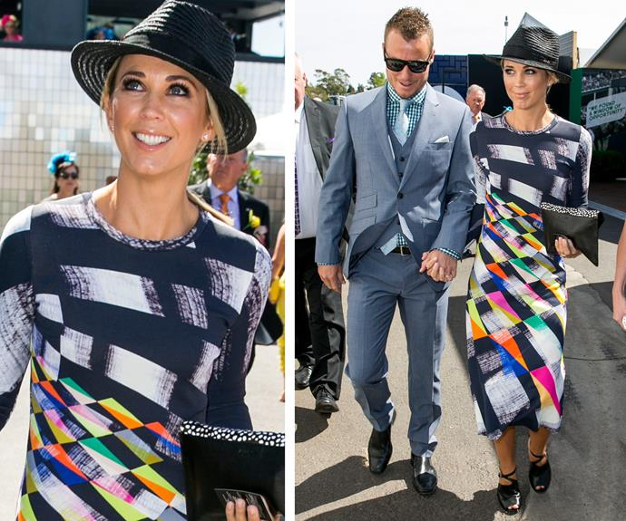 The 32-year-old mum-of-three cut a glamourous figure-hugging multi-coloured long-sleeved dress. Completing the look, Bec pulled her hair in low bun and added a charcoal straw hat.