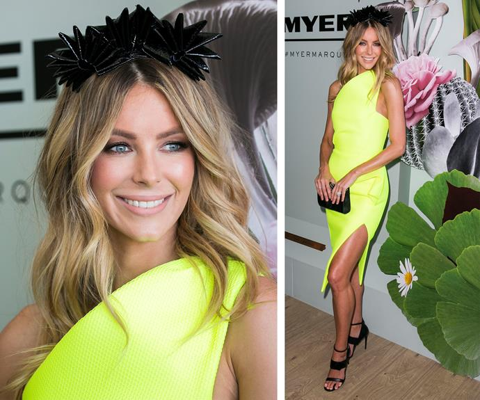 *Next Top Model* stunner Jennifer Hawkins brought some serious sunshine to the glam event. The leggy lady looked electric in a neon-yellow, one-shouldered frock. The 31-year-old added an edgy twist with striking black accessories and a pointed fascinator.