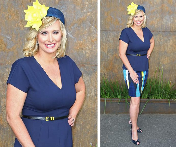 Johanna Griggs kept things classic in a navy V-neck dress and a bright yellow fascinator.