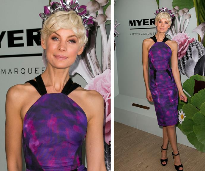 Kate Peck has put us in the perfect purple haze. Her swirl designed dress is completed with pretty floral headband.
