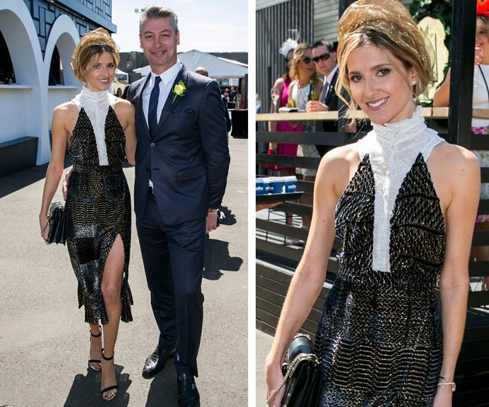 Race day royalty Kate Waterhouse glittered in this modern black design.