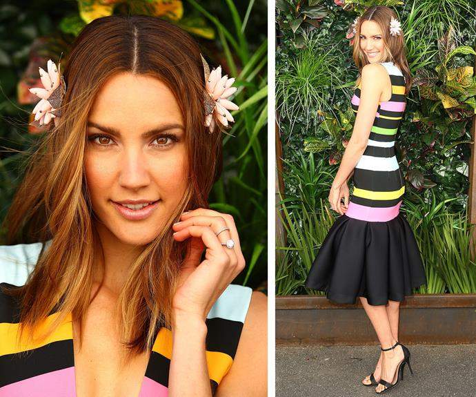 Sweet as candy! Rachael Finch opted for a delightful candy-inspired dress, taking her style notes from a licorice all-sort. She added a touch of [floral sweetness](http://www.womansday.com.au/style-beauty/beauty/the-ultimate-guide-to-wearing-flowers-in-your-hair-13750) thanks to two daisy clips in place of traditional fascinator.