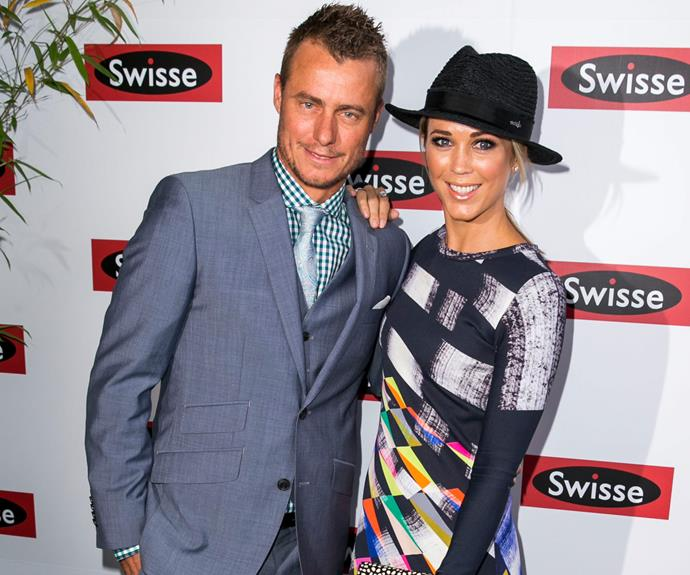 Bec and Lleyton Hewitt made a grand entrance for Melbourne's biggest racing day.