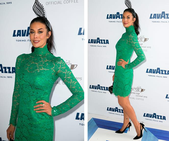 The always elegant Megan Gale slipped into a emerald green lacy number, which she teamed with a black headpiece.