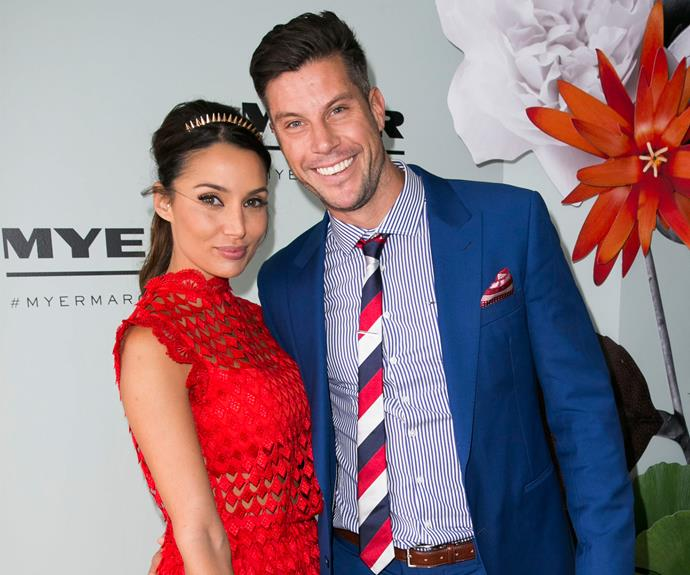 Meanwhile Snezana and Sam led the glamour earlier in the week at Melbourne Cup. The pretty brunette channeled a rose in a red lace frock while Bachie Sam Wood rocked a deep blue suit with a splash of red on his tie.