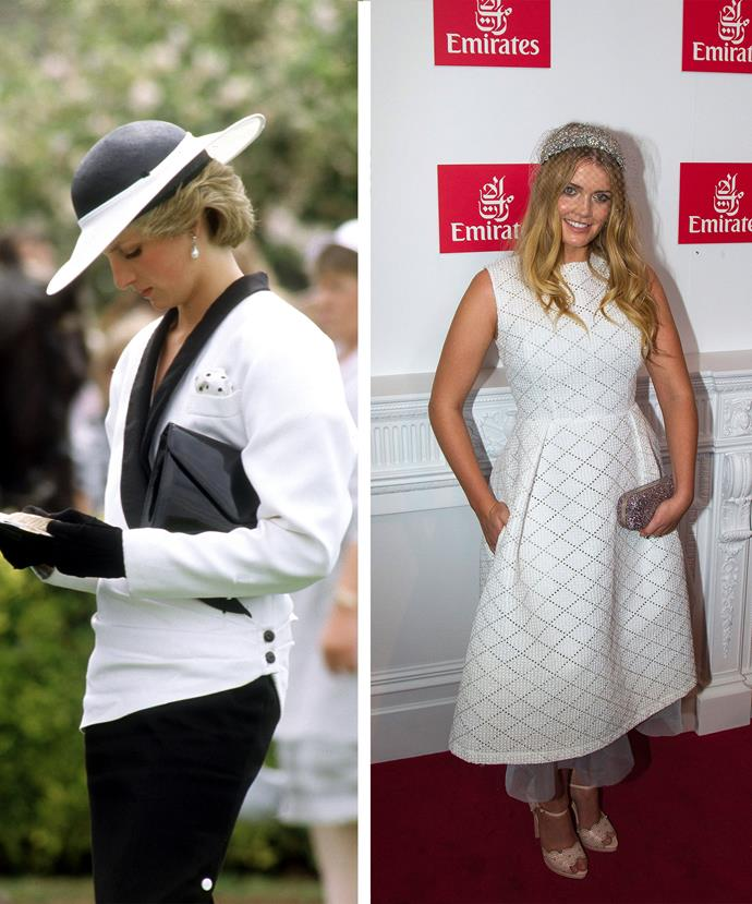 Princess Diana at the Melbourne Cup in 1985 (L) & Lady Kitty Spencer at the race this year (R)