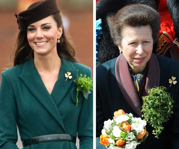 The royal's shamrock brooch has been worn by many in the family including Princess Anne and most recently, Duchess Catherine.