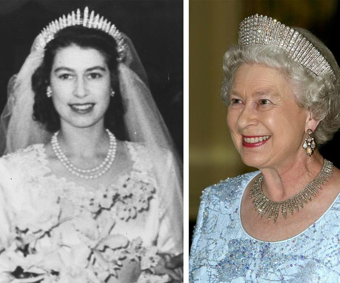The British monarch still adores wearing something from her 1947 wedding day, the diamond fringe tiara. It is incredibly delicate and fragile. Many might not know that on the her big day, the tiara broke before the ceremony, only to be repaired in the nick of time.