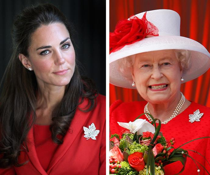 Catherine was loaned the stunning jewel from her Grandmother-in-law, the Queen, for her first trip to Canada back in 2011.
