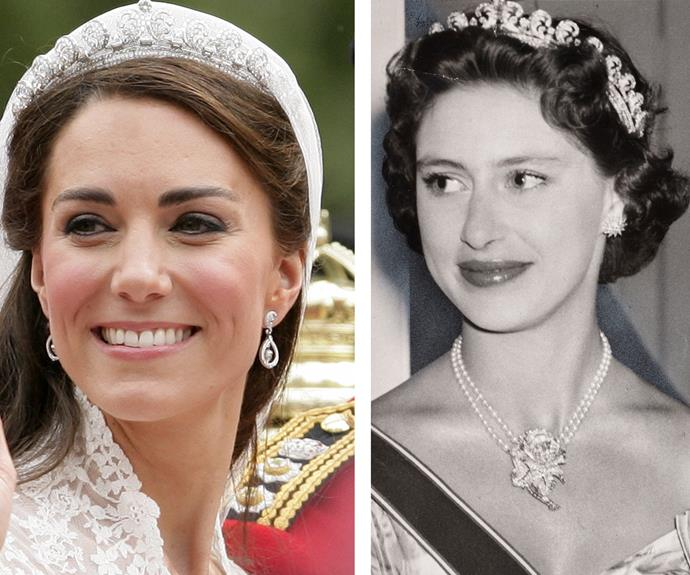 Catherine's most famous piece of borrowed jewellery is the Cartier Halo tiara, which she wore for her 2011 wedding. The tiara was gifted to a-then Princess Elizabeth on her 18th birthday by her mother. Apparently she wasn't terribly fond of it and often gave it to [her sister, Princess Margaret](http://www.womansday.com.au/royals/british-royal-family/princess-margaret-the-original-royal-of-rebellion-13832) (Pictured right in 1955).