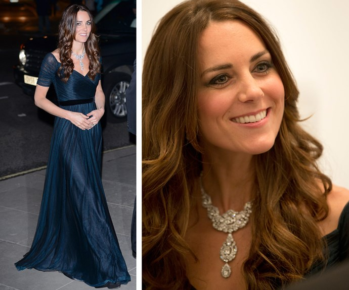 These days it's Duchess Catherine who gets to enjoy the Queen's impressive collection, including this exquisite necklace. She wore it during a visit to the National Portrait Gallery, in February 2014.