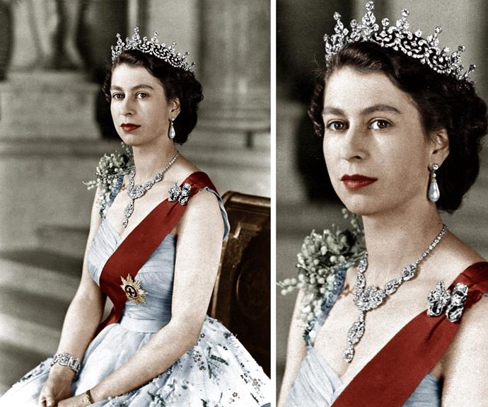 This necklace was given to the Queen from the Nizam of Hyderabad as a wedding present. Legend says he told the Queen to pick out anything she wanted from Cartier! And we now know why Elizabeth is brilliant ruler - she selected this glittering number, which features a chain of 38 diamonds plus a centre piece of 13 emerald-cut diamonds.