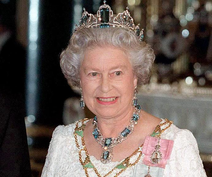 Queen Elizabeth's most prized items is her Brazilian Aquamarine Tiara. She was gifted the necklace and earrings by the president and the people of Brazil in celebration of her [coronation, over 62 years ago](http://www.womansday.com.au/royals/british-royal-family/queen-elizabeth-ii-celebrates-62-years-since-coronation-6670). In 1957, she received the matching tiara and throughout her reign Elizabeth added more aquamarines and diamonds to the exquisite piece.