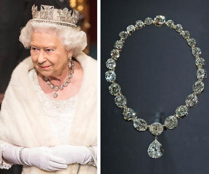 Wearing 26 diamonds around your neck, now that's regal! The Coronation Necklace has a chain of 25 diamonds with the last – a 22.48-carat stone known as the Lahore Diamond – hanging from the end. It has been worn at the coronation of every Queen since Queen Alexandra in 1902.