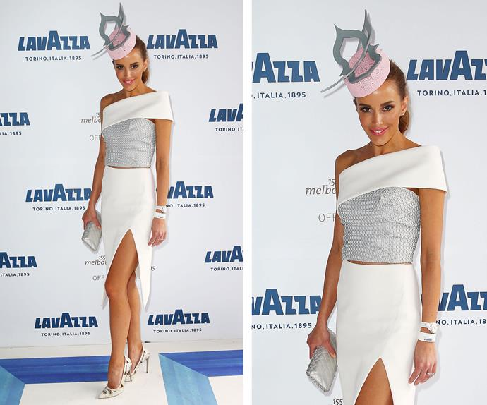 That is one fierce fascinatior, Rebecca Judd. The stunning star opted for an elegant Toni Maticevski frock.