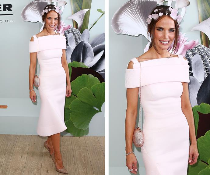 Former *Home and Away* star Jodi Anasta was a vision in this pale pink dress by Toni Maticevski.