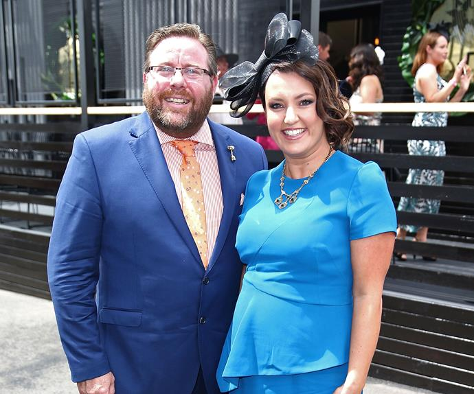 Funnyman Shane Jacobson and his wife Felicity Hunter looked fab in different shades of blue.