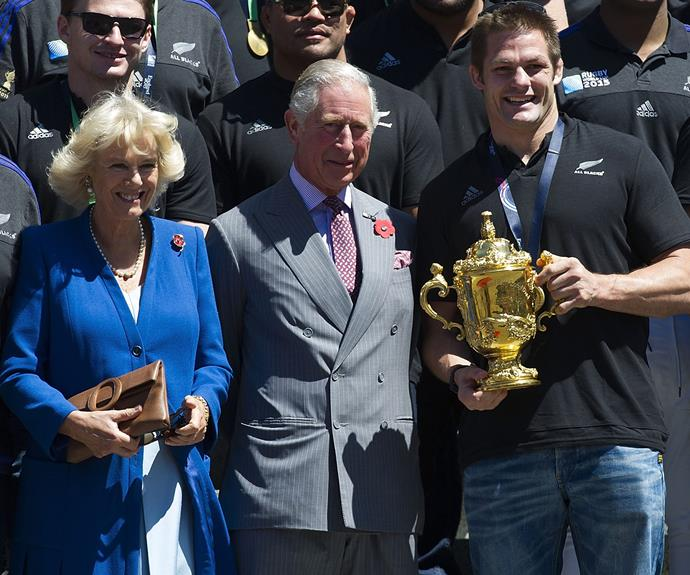 The royals spent the day with New Zealand royalty, the All Blacks. The team along with their captain Richie McCaw (R) celebrated their Rugby World Cup win against Australia in England, by holding a parade in Wellington.
