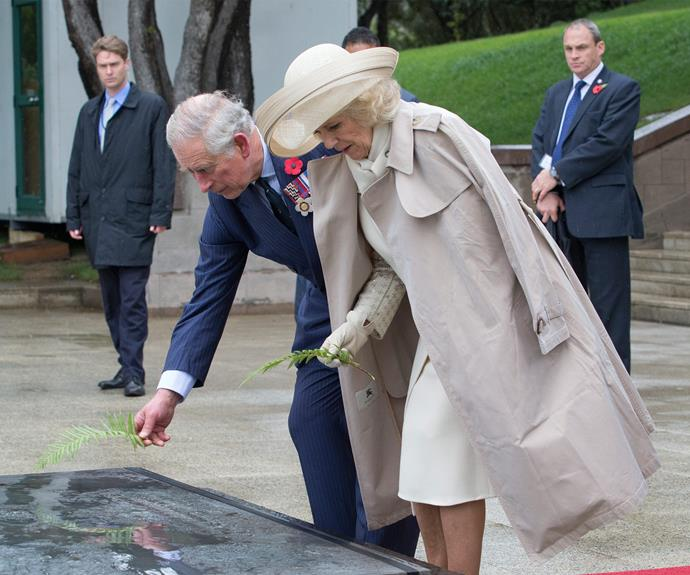 The Prince of Wales and the Duchess of Cornwall lay down ferns on the Tomb of the Unknown Warrior at the National War Memorial in Wellington.