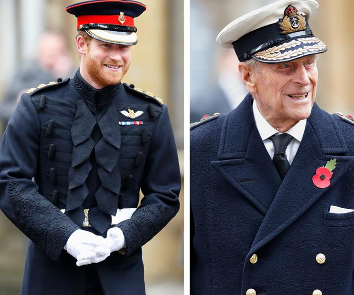 Prince Harry joined his grandfather Prince Philip to visit the Field of Remembrance at Westminster Abbey, London.