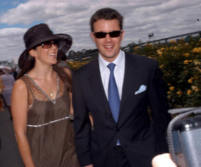 For the first year of their romance, the couple's relationship was long-distance, with Fred making secret trips from Copenhagen to Sydney. The couple is pictured here at the 2002 Melbourne Cup.