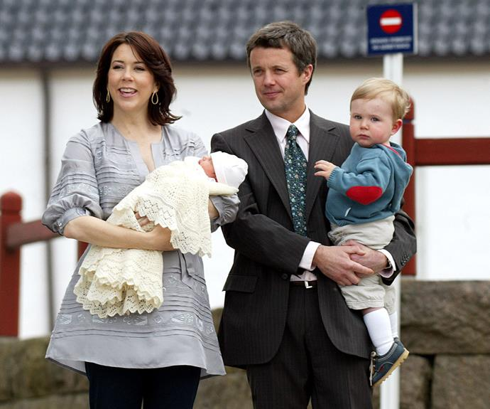 The Danish royals after the birth of Princess Isabella, in January 2011.