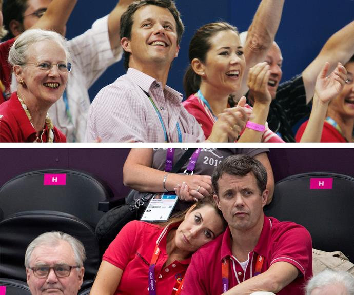 The couple supporting Denmark at the London Olympics in 2012 (we're sure Mary was wearing her Aussie colours underneath...).