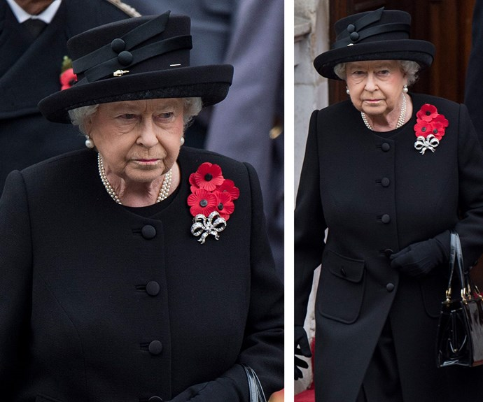 The Queen led the Remembrance Sunday service at the at the Cenotaph memorial in London over the weekend.