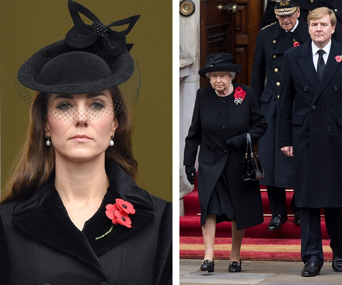 The Duchess of Cambridge was also in attendance for the commemorations, which honoured soldiers of World War I, II and beyond.
