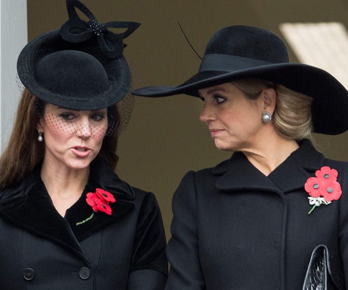 The Duchess chats to Queen Maxima of the Netherlands during the ceremony.