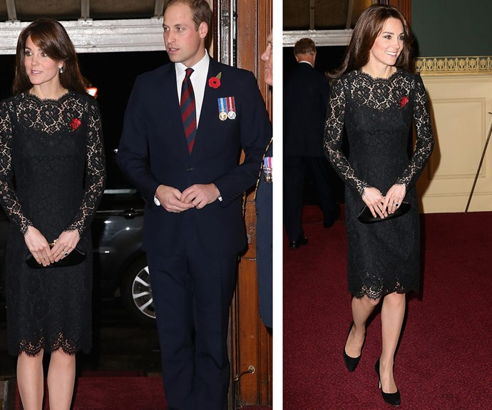 The mother-of-two cut a stylish figure in a demure black lace dress which she teamed with [stunning drop earrings.](http://www.womansday.com.au/royals/royal-style/the-british-royal-familys-jewellery-collection-14057)