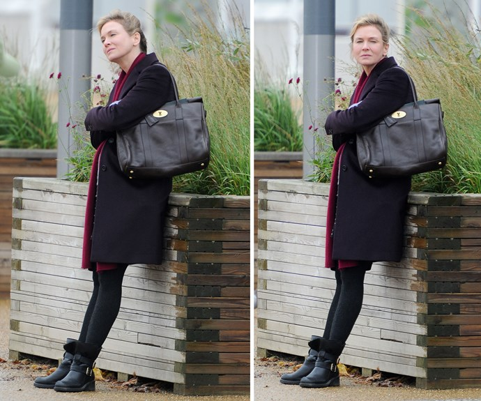 Sporting a baby bump, the 46-year-old kept cosy in an overcoat and sturdy boots.