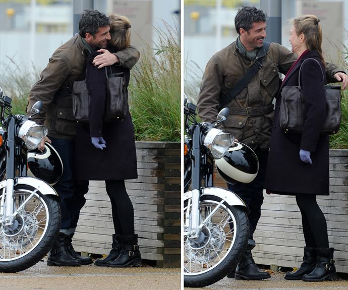 The name of Patrick Dempsey's character hasn't been revealed just yet but it's clear he makes Bridget Jones pretty happy.