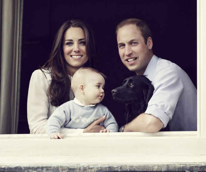 A much younger Prince George with the Duke and Duchess of Cambridge and their puppy Lupo.