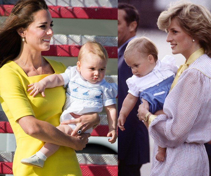 "Over the years, the royal tours have also given the world first glimpses of new family members. In 2014, [Prince George](https://www.nowtolove.com.au/tags/prince-george|target=""_blank"") and his chubby cheeks became an overnight sensation (L) and in 1983, there were similar scenes of excitement when a young Prince William arrived in Sydney with his parents (R)."