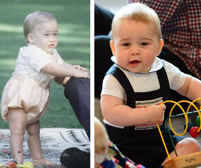 According to locals who Princess Diana spoke to, Prince William (L) took his first ever steps at Woomargama, Albury during his first tour. Decades later in Australia, a wriggly Prince George gave it his best shot too, but with not as much success.