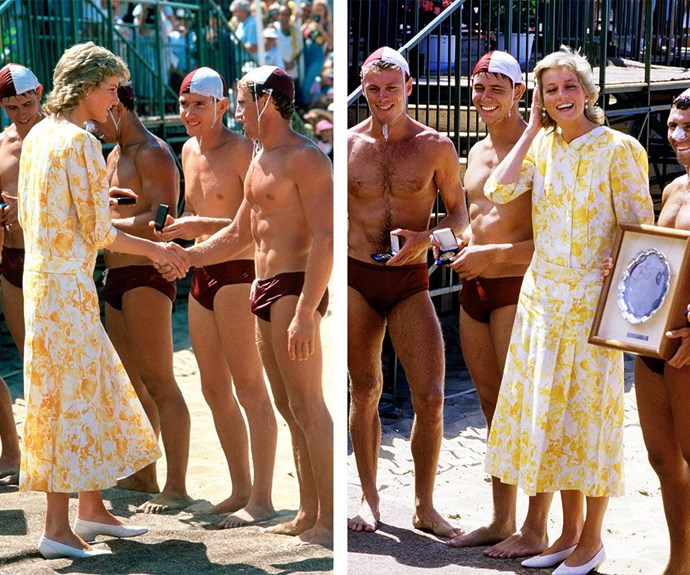 When Diana rubbed shoulders with the buff lifeguards at Terrigal Beach in 1988 it made international headlines.
