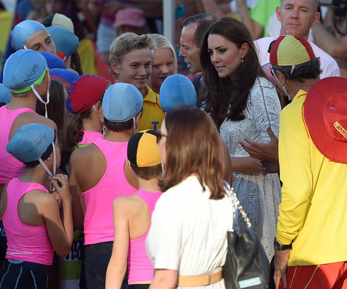 "[Duchess Catherine](https://www.nowtolove.com.au/tags/catherine-duchess-of-cambridge|target=""_blank"") was also swarmed by well-wishers, albeit much younger ones, at the beach."