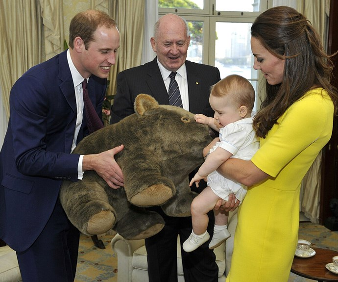 "Prince William's nickname as a child was ""wombat"" so it was only fitting his son be gifted with an oversized version of the mammal from Governor-General Peter Cosgrove."